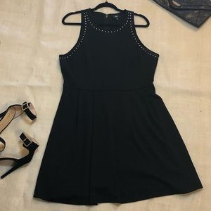 Black Dress with Silver Studded Neck Line
